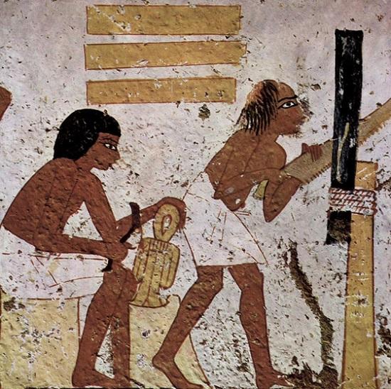 Detalle de obreros trabajando representados en la tumba de Nebamun