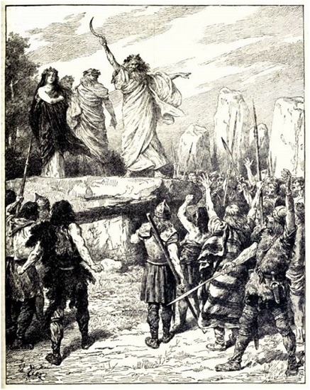 Druids Inciting the Britons to Oppose the Landing of the Romans (Cassell's History of England, Vol. I)