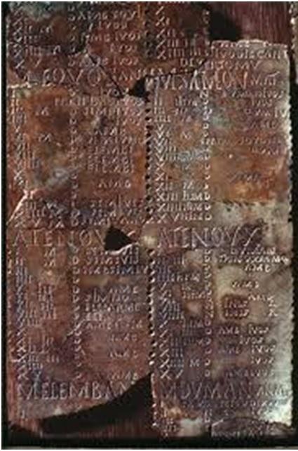 Fragmentos del calendario galorromano de Coligny (siglo II dC)