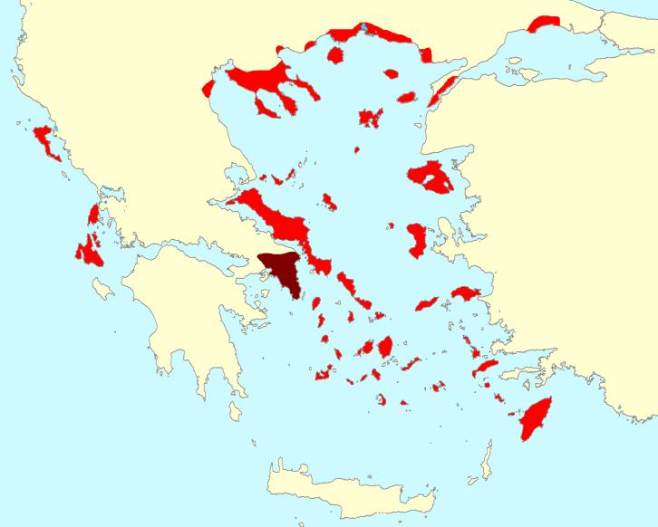 Mapa de los componentes de la Segunda Liga Ateniense