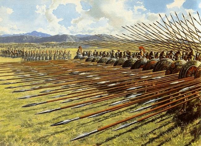 Ilustración de una falange macedónica Arrecaballo
