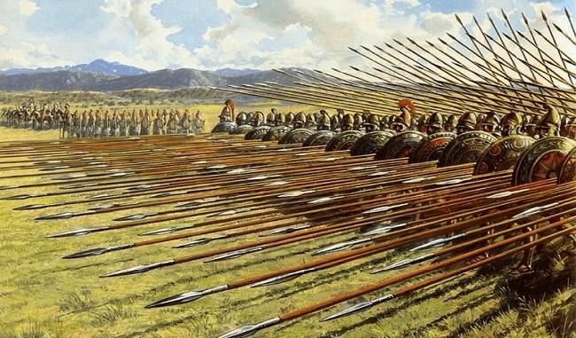 Ilustración de una falange macedonia Arrecaballo
