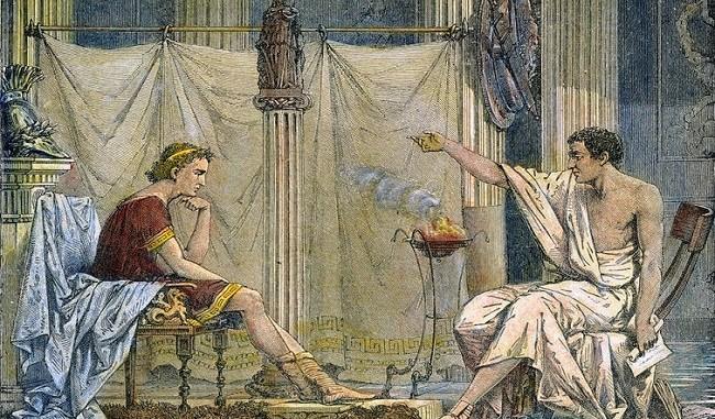 Ilustración del siglo XIX que muestra a Aristóteles y Alejandro Magno