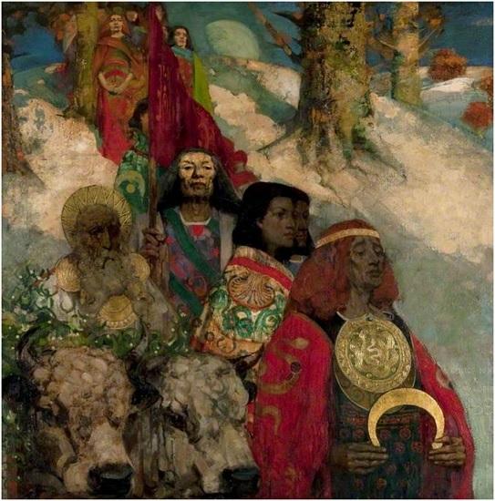 The Druids 1887, de George Henry, muestra uno de los rituales druidas, la obtención del muérdago