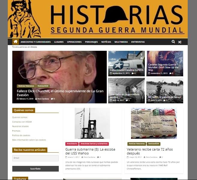 Captura de pantalla de la web Historias Segunda Guerra Mundial