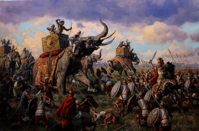 Ilustración sobre la batalla del Hidaspes 326 aC Arrecaballo