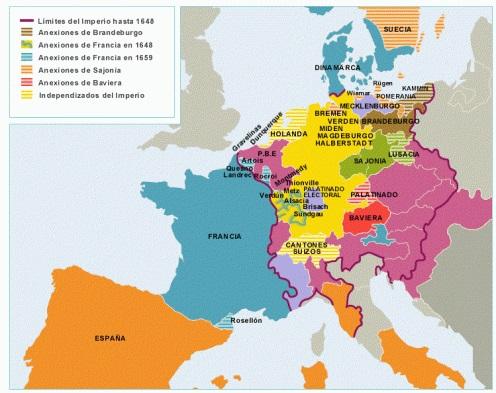 Mapa de Europa tras la Paz de Westfalia