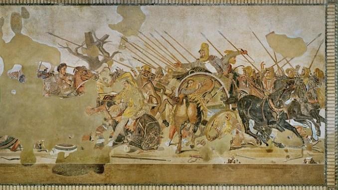 Mosaico hallado en la Casa del Fauno de Pompeya en la que se representa la batalla de Issos