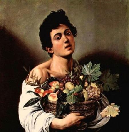 Niño con un cesto de frutas, Caravaggio, cuadro barroco (h. 1593)