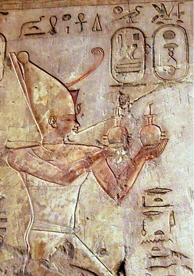 Psamético I oferente en una tumba de la necrópolis teban