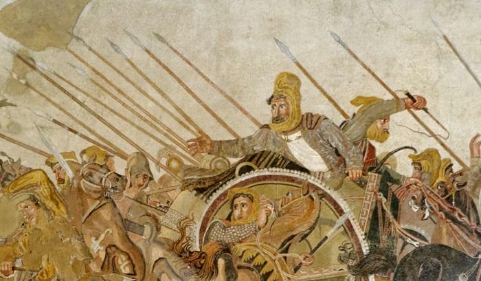 Detalle del Mosaico de Issos en Pompeya donde se aprecia al emperador persa Darío III