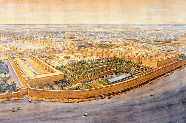 Reconstrucción de Babilonia, con los jardines colgantes en primer plano