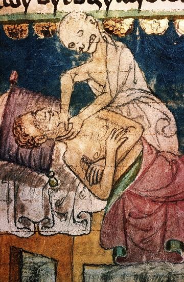 La peste negra acaba con una víctima. Códice Stiny. Biblioteca Universitaria, Praga