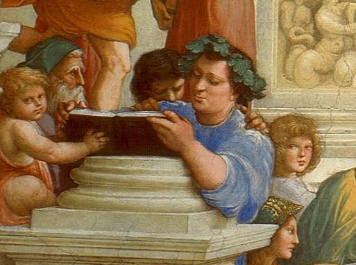 Detalle de La escuela de Atenas, de Rafael Sanzio, en el que se ve representado a Epicuro, uno de los padres de la filosofía helenística