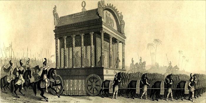 Reconstrucción del cortejo fúnebre de Alejandro según Diodoro (hecho a mediados del s XIX)