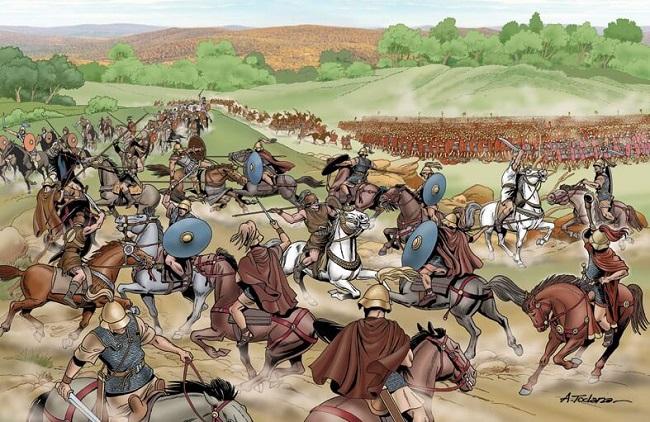 Ilustración que recrea la batalla de Cannas, una de las más importantes de la Segunda Guerra Púnica