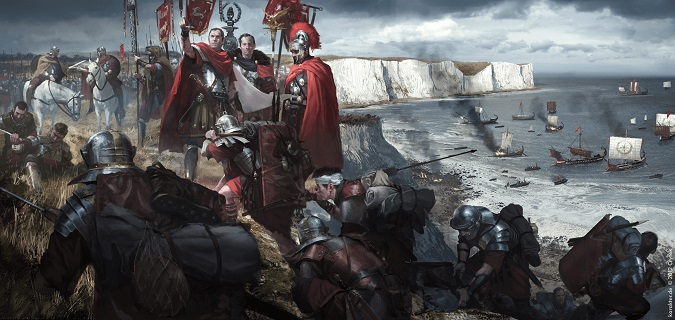 Ilustración que reconstruye el desembarco romano en Britania