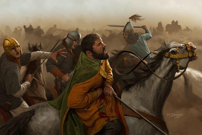 Ilustración que recrea la muerte de Juliano el Apóstata en el año 363