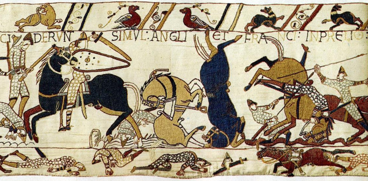 Bayeux Tapestry section showing injured and dying horses
