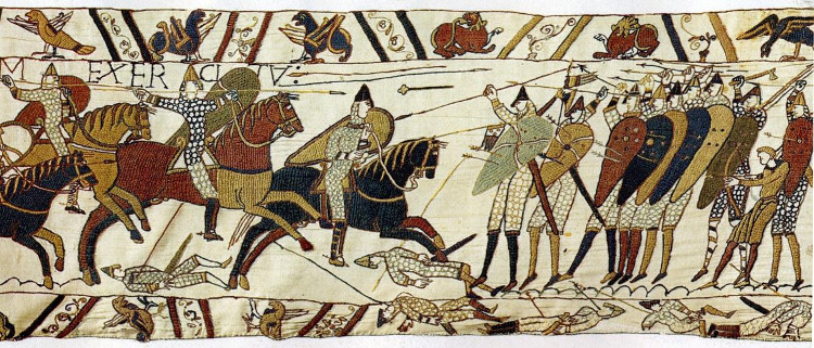 Bayeux Tapestry section showing Norman horses charging English foot-soldiers in a shieldwall
