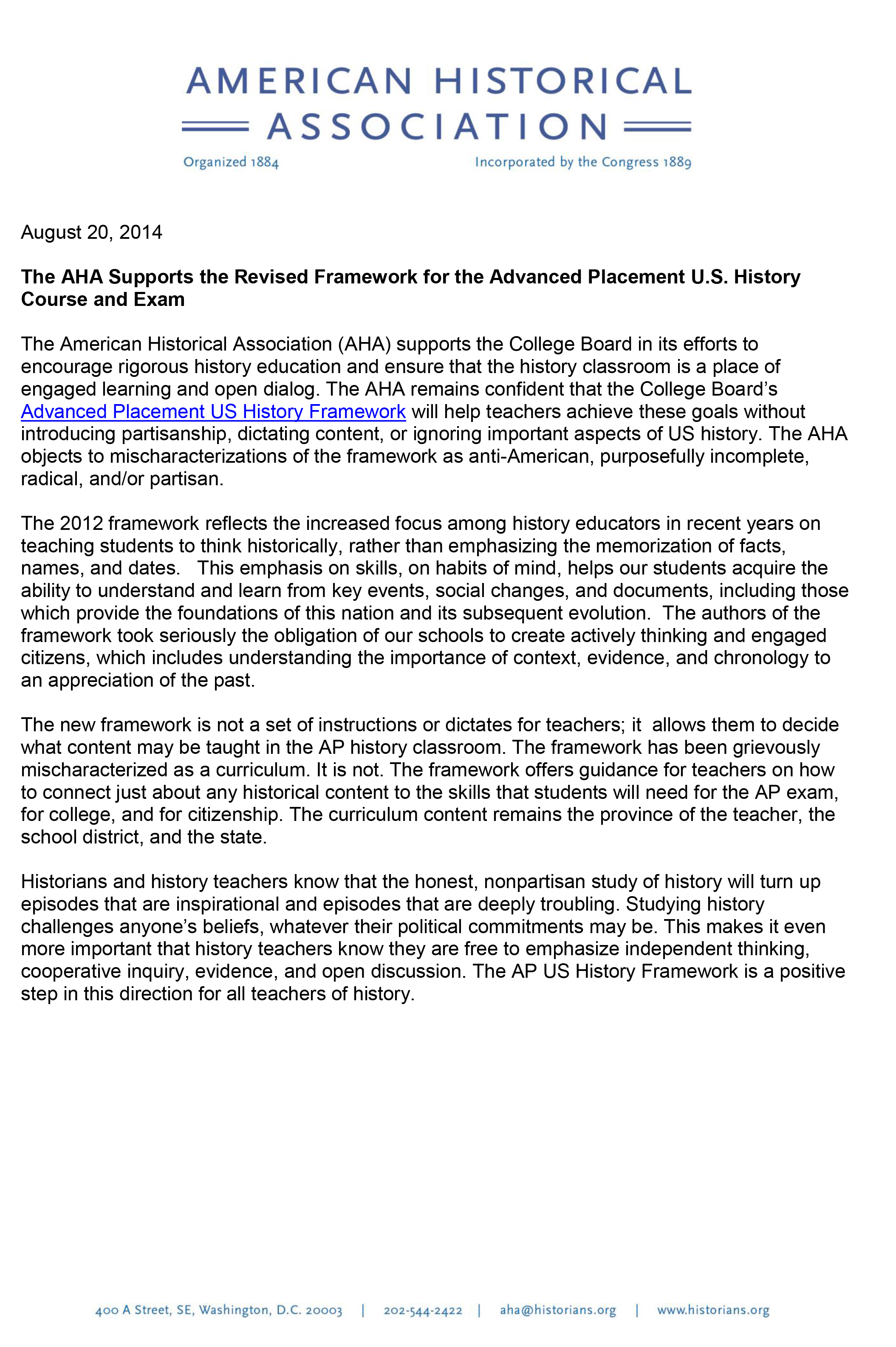 The Aha Supports The Revised Framework For The Us Ap History Exam