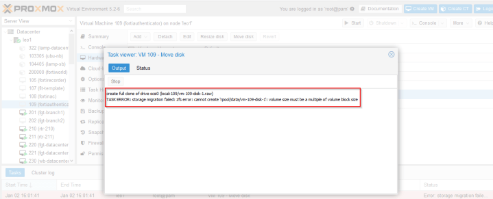 """Proxmox Error – """"volume size must be a multiple of volume"""