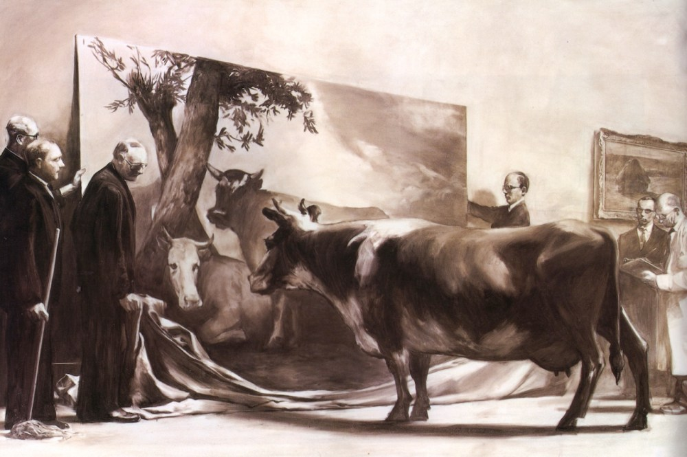 Mark Tansey, The Innocent Eye Test, 1981 (uma vaca a apreciar um Manet)