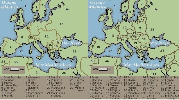 Tras la I Guerra Mundial, el mapa de Europa experimentó importantes modificaciones. De acuerdo con lo establecido en el Tratado de Versalles, Alemania cedió parte de su territorio a Bélgica, Checoslovaquia, Dinamarca, Francia y Polonia. Estos países, así como Rumania y el Reino de los Serbios, Croatas y Eslovenos, aumentaron su extensión con regiones de Austria-Hungría. Las restantes zonas del Imperio otomano también se disgregaron, y la mayoría de los estados que se constituyeron pasaron a ser mandatos franceses y británicos por decisión de la Sociedad de Naciones