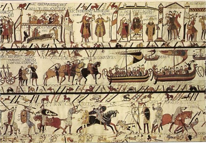 Tapiz de Bayeux  El tapiz de Bayeux (Francia), que en realidad es un bordado, es una de las mayores labores de costura que existen. Mide 70 m de largo por 49,5 cm de ancho. Las escenas que aparecen representan la conquista normanda de Inglaterra y los acontecimientos relacionados con ella. El bordado, que se inició en 1073 y concluyó en 1083, está hecho en lana sobre lona o lino.