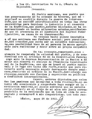 Carta de renuncia del presidente Porfirio Díaz