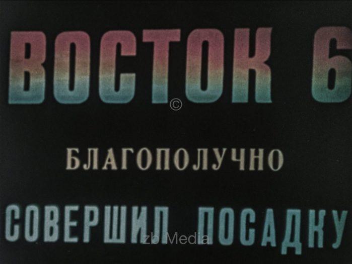 Bildschirm im Kontrollzentrum Vostok Raumflug