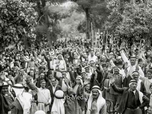 Arabische Versammlung bei Unruhen in Palästina 1936