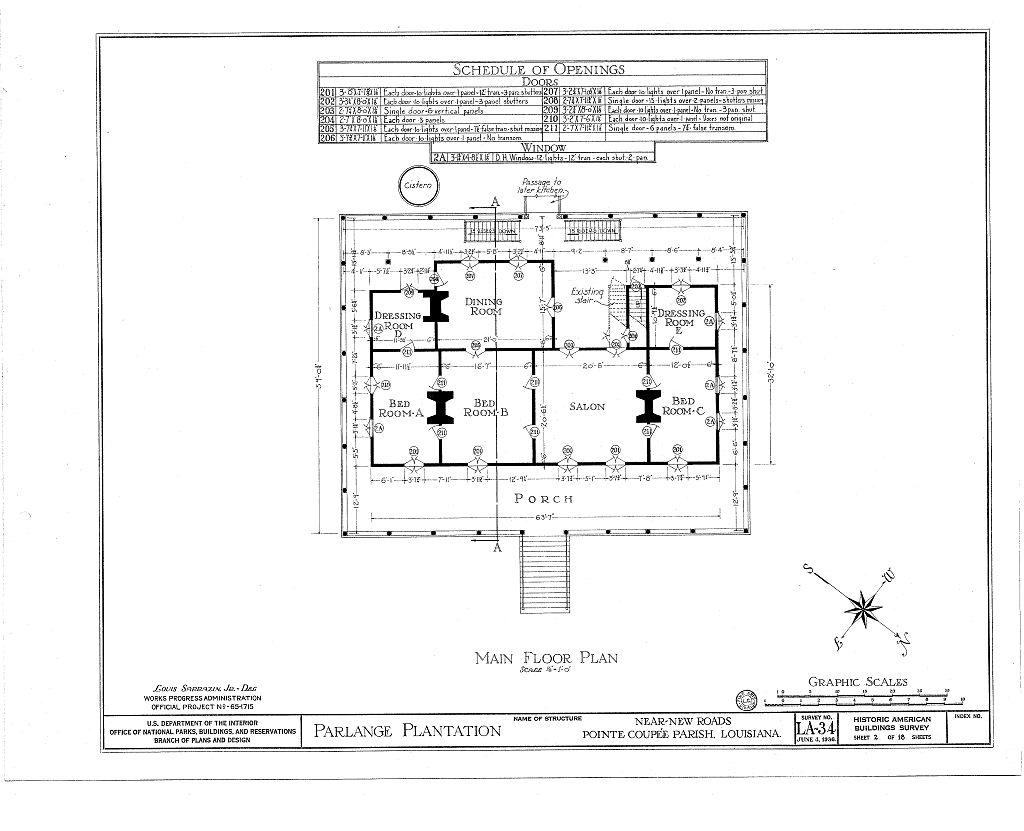 Best Kitchen Gallery: Floor Plans Parlange Plantation House New Roads Louisiana of Louisiana Plantation Home Plans on rachelxblog.com