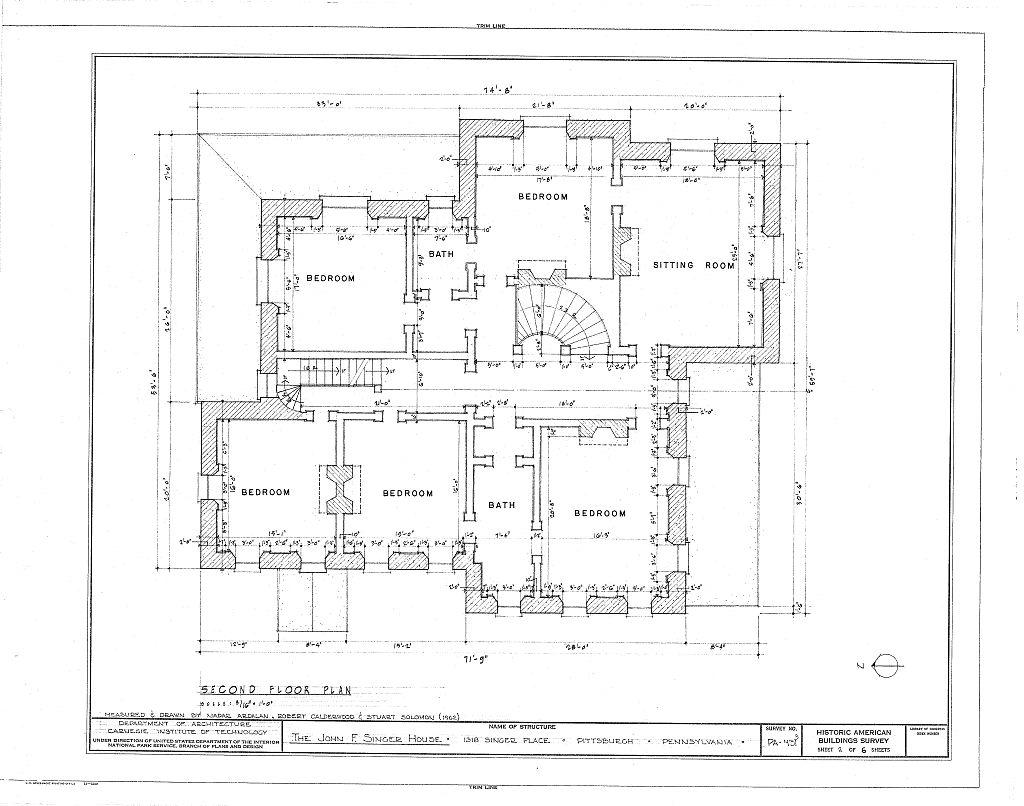 Floor Plans John F. Singer House Mansion, Pittsburgh