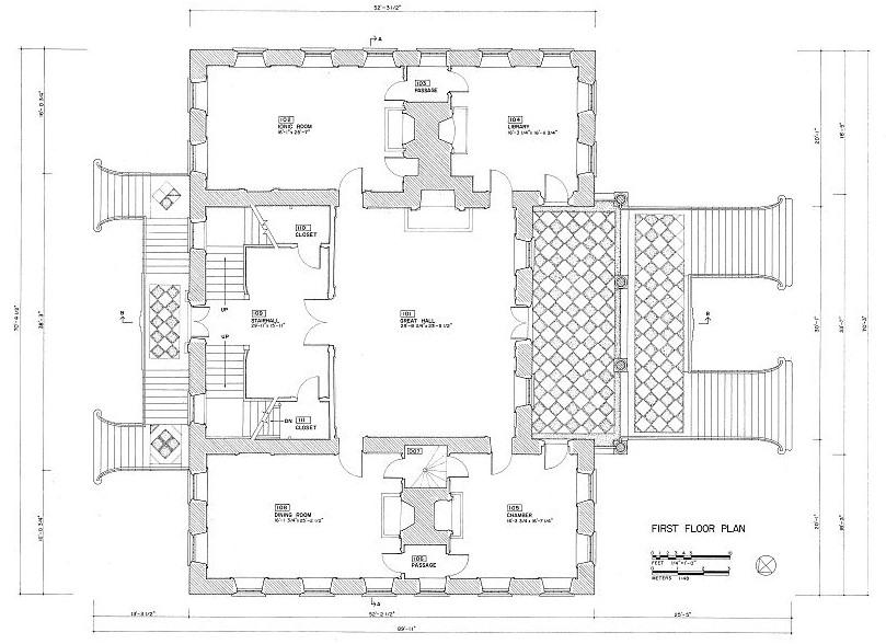 Floor Plans and Elevations Drayton Hall, Charleston South