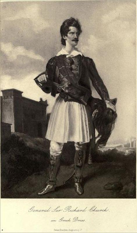 Ο σερ Ρίτσαρντ Τσωρτς με ελληνική φορεσιά