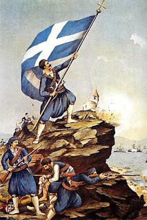 Ο Σπύρος Καγιαλές (1872 - 1929) υψώνει την Ελληνική Σημαία, Ακρωτήρι - Χανιά, 9 Φεβρουαρίου 1897