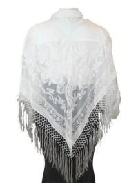 Velvet Triangular Shawl - White