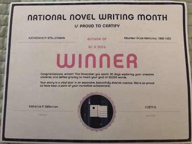 Image of National Novel Writing Month Winner Certificate