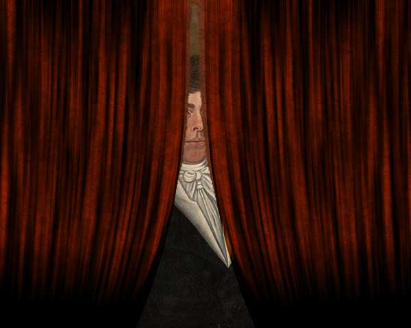 Aaron behind Curtains