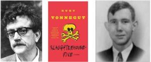 photo of author Kurt Vonnegut, novel Slaughterhouse Five cover, photo of Edward R. Crone, Jr.