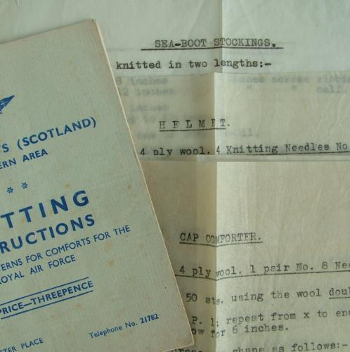 RAF Comforts Committee Knitting Pattern In WW2 RAF Documents