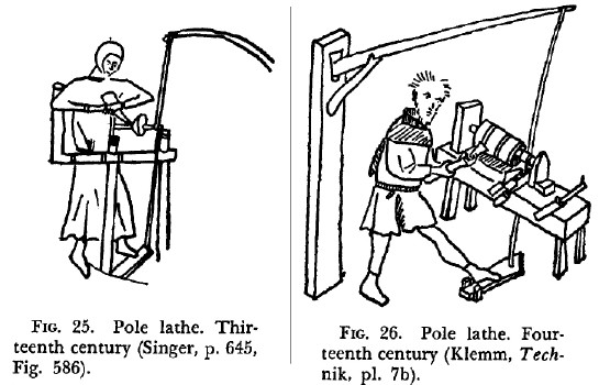 Two early examples of Spring Pole Lathes. The left-hand