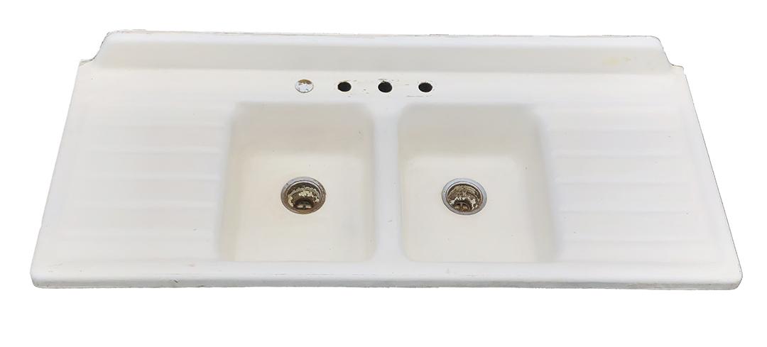 antique cast iron double bowl double drainboard kitchen sink