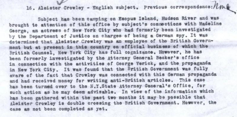 Un rapport indiquant que Aleister Crowley pourrait avoir été un agent double.
