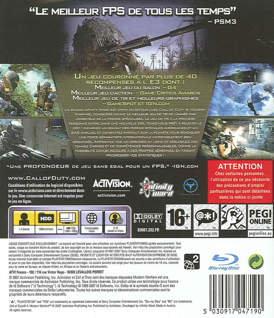 Jeu Video Call Of Duty 4 Modern Warfare Sur PS3 1