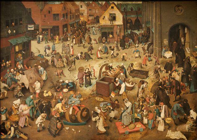 Le Combat de Carnaval et Carême, peint par Pieter Brueghel l'Ancien en 1559.