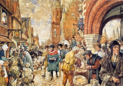 Een stad in de Middeleeuwen