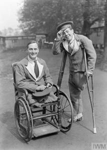 THE MEDICAL SERVICES ON THE HOME FRONT, 1914-1918 (Q 27815) Two disabled soldiers at No. 4 London General Hospital. Note the 'Hospital Blue' uniform worn by the soldiers. Copyright: © IWM. Original Source: http://www.iwm.org.uk/collections/item/object/205213449