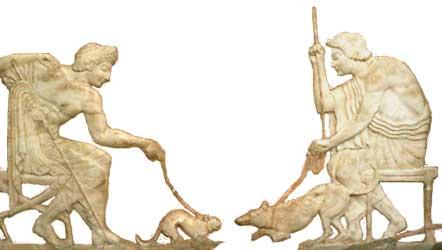 kat vs. hond marmeren reliëf